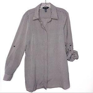Ellen Tracy Black White Check Long Sleeves Blouse